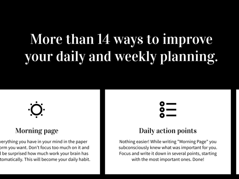 Stress-free Planner calendar stress management self improvements productivity product design planning morning routines