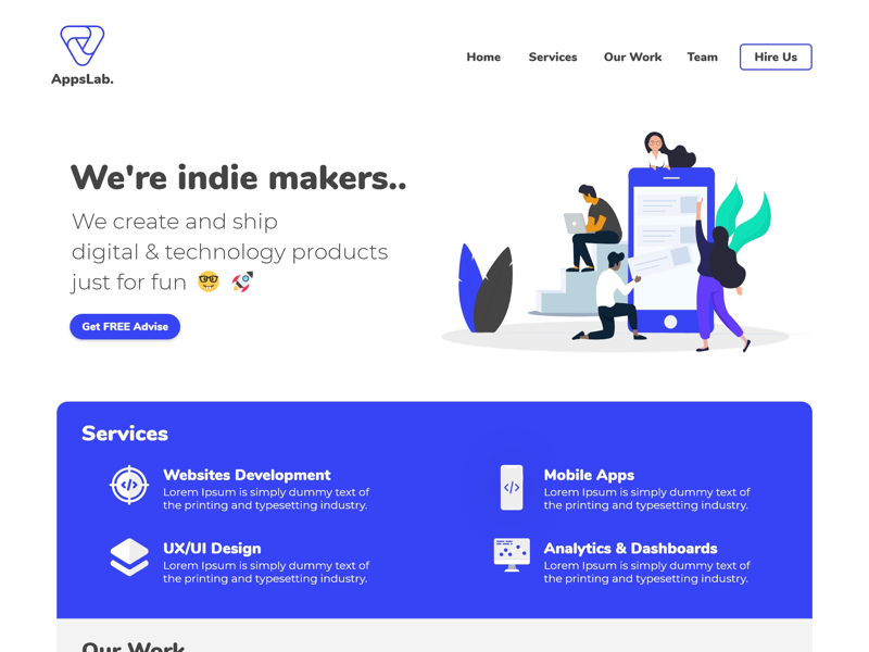 AppsLab Landing Page website design uxui