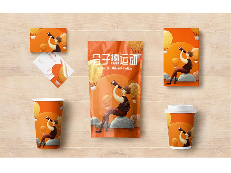 Molecular thermal motion packaging design illustration