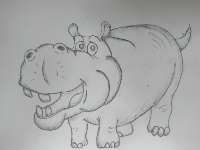 Cartoon Hippo Drawing image art book sketch sketch drawing ui logo scratched design pencil drawing hand crafted hand drawing learning platform kids art board cartoon art cute drawing animal hippo