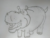 Cartoon Hippo Drawing