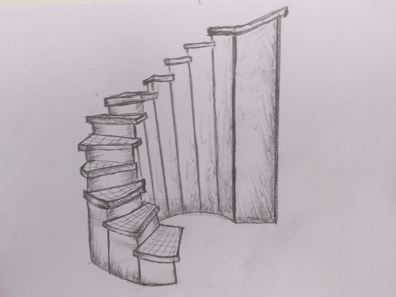 3D Staircase Drawing sketch art board pencil drawing hand crafted paper kids illusion sandor technique vamos pencil steps art craft 3d ladder drawing staircase design