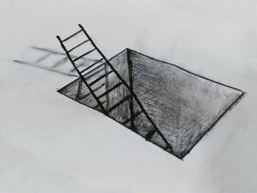 Ladder in a Hole Drawing art art board hand crafted hand drawing sketch design 3d ladder 3d hole 3d pencil drawing drawing letters pencil balck top upstair stair drawing hole home ladder