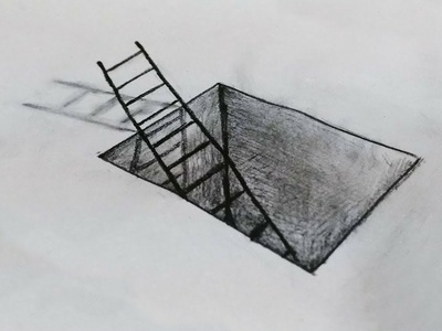 Ladder in a Hole Drawing