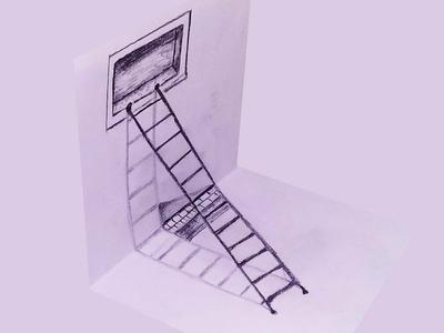 3D Ladder Optical Illusion Art