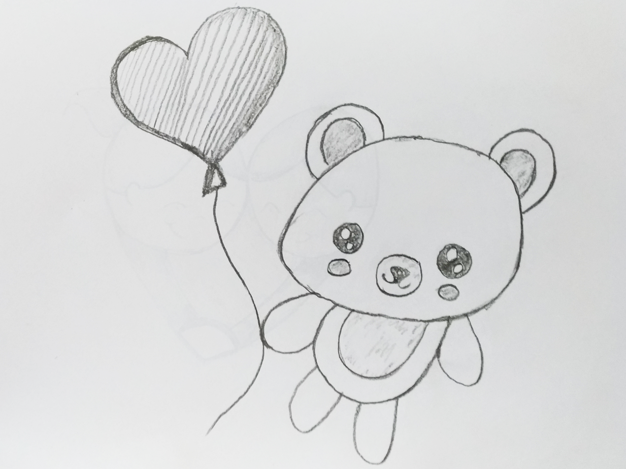 Love heart bear art sketch art book black pencil animal cute cartoon kids design pencil art