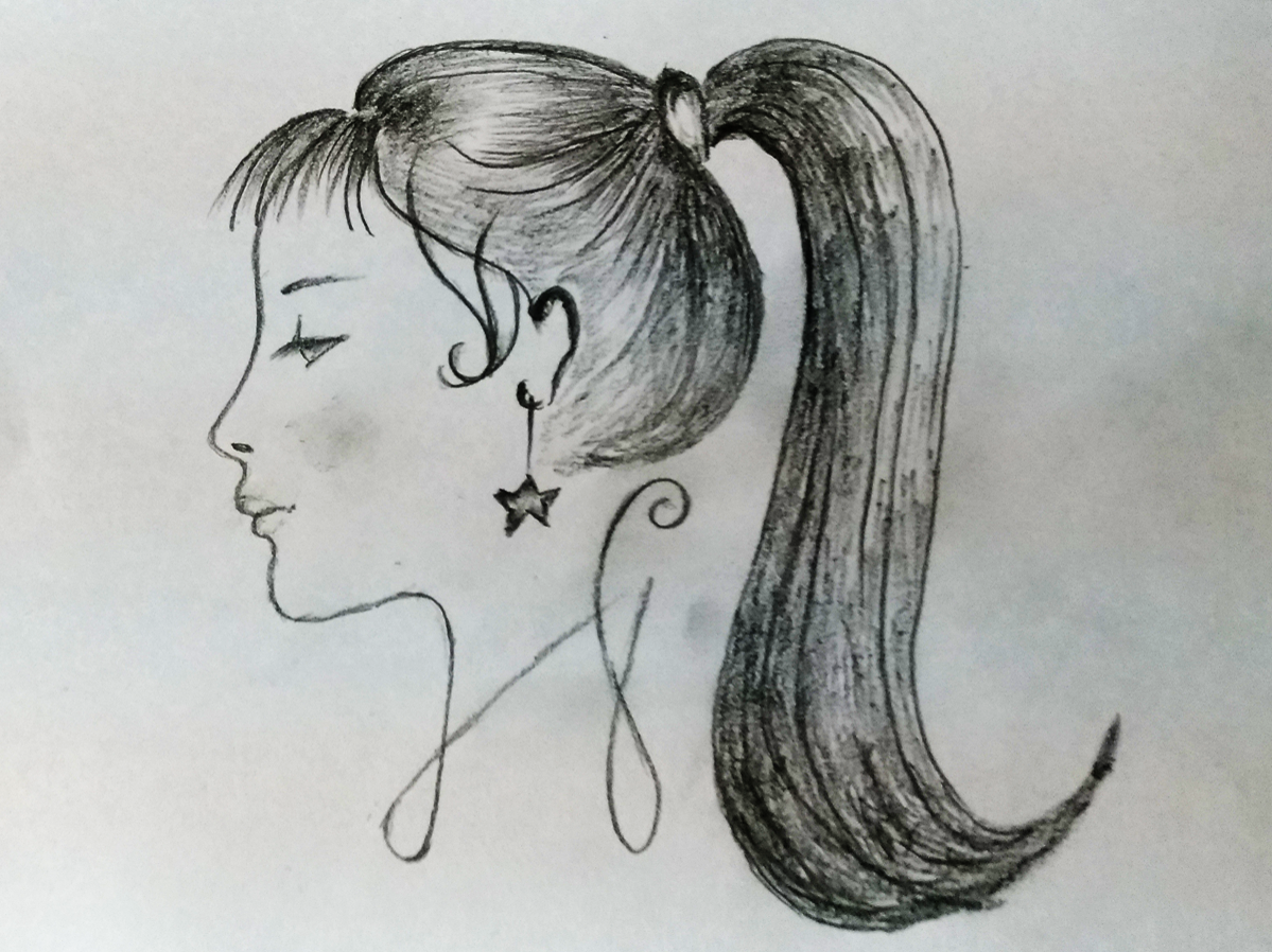 Woman face side view art sketch cartoon kids art board sketch drawing design pencil art hand