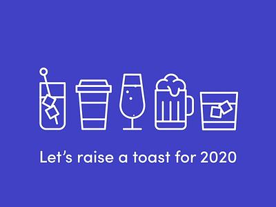 Cheers! fluid glasses toast cheers 2020 vector animation