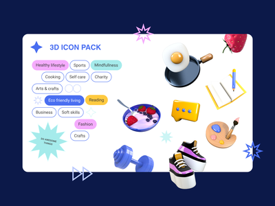 3D Icon set uxui product digital illustration app interface web iconography 3d icon set