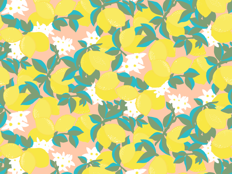 Lemon repeat pattern graphic art illustration surface pattern design fabric design textile design repeat pattern