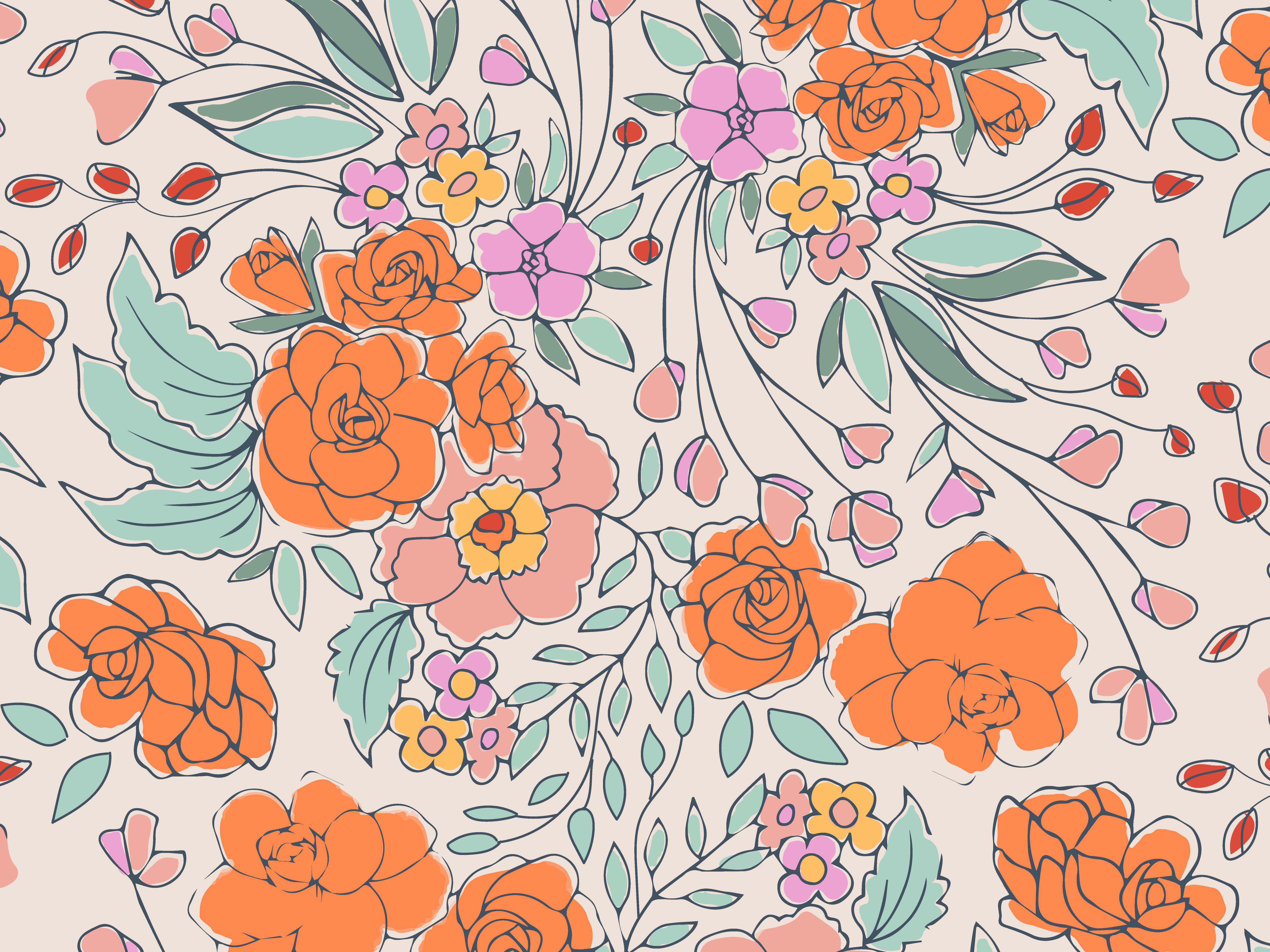 Begonias repeat pattern by Melanie Hodge on Dribbble