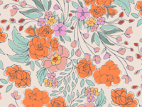 Begonias repeat pattern