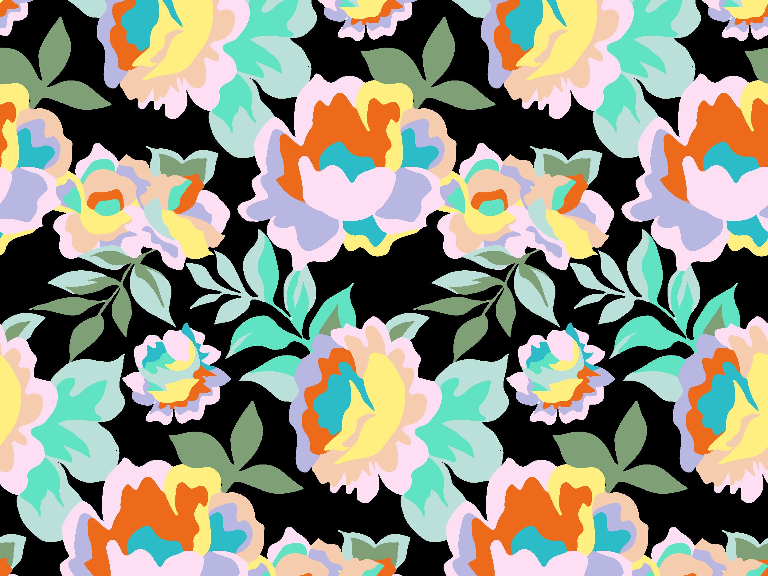 Rainbow Roses pattern in black by Melanie Hodge on Dribbble