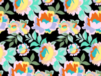 Rainbow Roses pattern in black