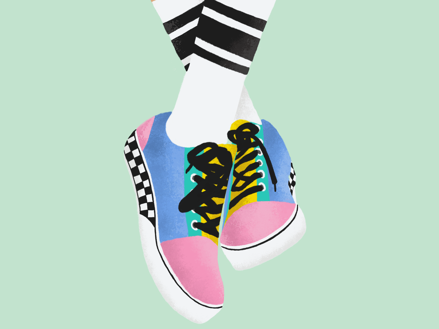 Old Skool Vans branding bright vector illustration graphic art