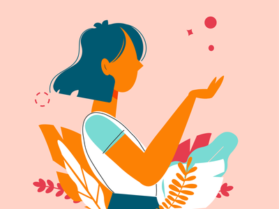 Cover Girl - Desigual Magic – Loyalty App Program magic.magic girl character design girl nature flowers vector flat illustration flat design design vector artwork illustration