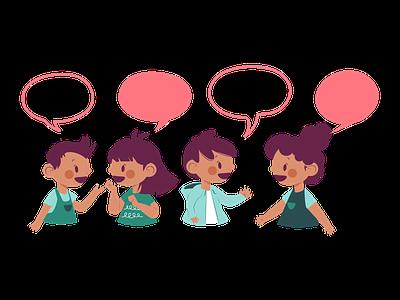 Let's talk boy girl children talk customizable illustration art ui character design flat illustration flat design design vector artwork illustration