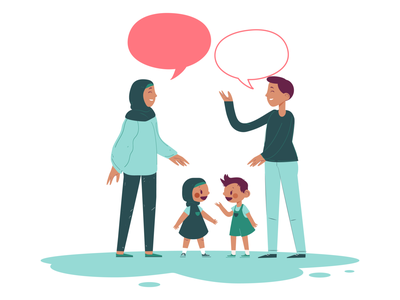 Family talk illustrator girl vector illustration art flat design character design vector artwork ui illustration chat talk family hijab illustration