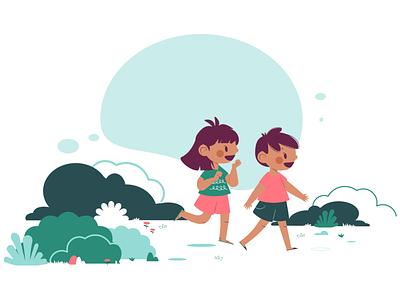Exploring outdoors nature flat illustration character design vector vector artwork illustration child kids art forest walking explore outdoor girl boy children kids