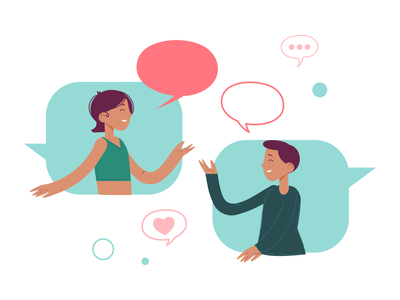 Communication man woman girl flat illustration design vector artwork character design flat design illustration communicate talk heart love couple communication