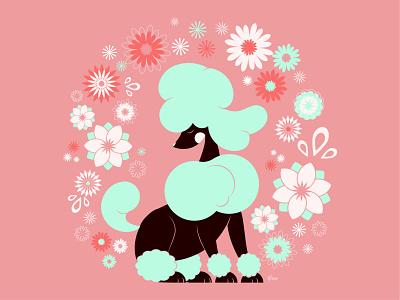 Glam Poodle flat illustration flat design illustration art character design vector dog flowers elegant cute fashion glam poodle toy poodle illustration