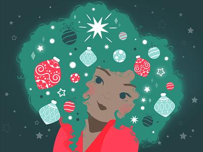 Afro Christmas glow afro decoration christmas tree christmas girl vector artwork illustration