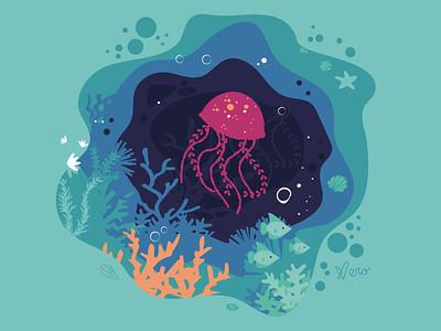 Jellyfish shell marine corals underwater ocean water jellyfish nature vector flat illustration design flat design vector artwork illustration