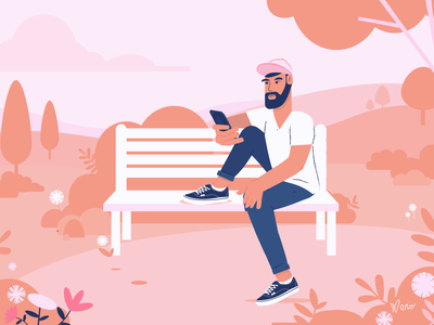 Guy on a Bench sneakers park trees reading cap cellphone sit beard bench guy nature flowers character design flat design vector artwork illustration