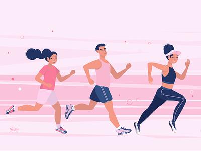 Let's Run athletic athlete guy shoes sneaker sport running runners run girl character design flat illustration vector artwork illustration