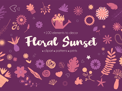 Floral Sunset Collection garden creative market creative clipart icon design icon set icon flowers nature branding ui logo illustration art design flat design flat illustration vector artwork illustration