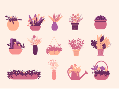 Cliparts Pots from Floral Sunset Collection decoration branding nature illustration art flowers vector artwork garden floral pots vector clipart illustration