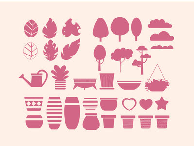 Icons Design - Floral Sunset Collection bushes clouds heart star trees icons pack pots branding nature illustration art flowers vector artwork design flat illustration icon set icons illustration