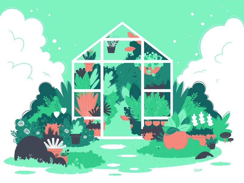 Glass House illustration art glass house green house nature pots clouds flowers flat illustration flat design illustrator vector vector artwork illustration design