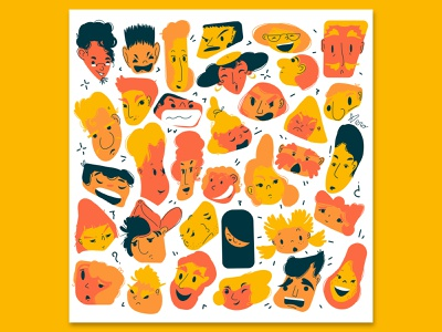 The people we don't know expressions boy girl people flat design flat illustration vector artwork character design illustration