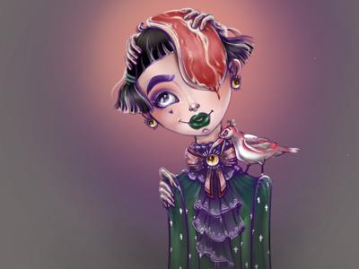White crow. meat girls crow artwork dtiys character procreate digital drawing illustration
