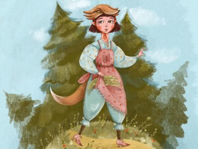 Fox sketch girl fox cartoon illustration art animal childrens illustration artwork character procreate digital drawing illustration