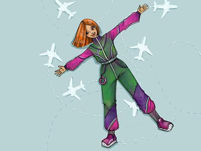 Plane happy plane cartoon childrens illustration girl artwork graphic character procreate digital drawing illustration