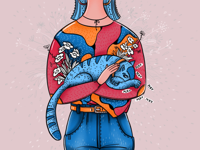 Sweet dreams ✨ stayhome flowers childrens illustration dreams cat girl artwork character procreate digital drawing illustration