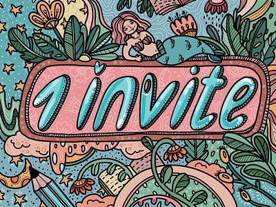 One Dribbble Invite sketch illustration art doodle dribbble invite invite artwork graphic procreate digital drawing illustration