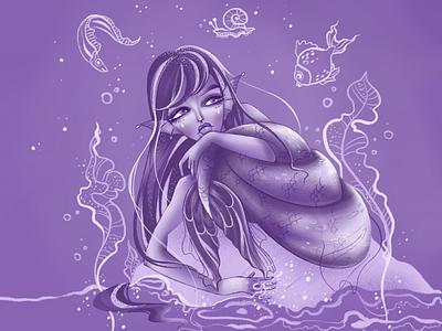 The sea 🌊 artwork graphic sunset sea fish cartoon girl mermay mermaid character procreate digital drawing illustration