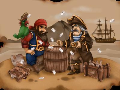 Quarrel between pirates character childrens illustration drawing digital procreate play print games game illustration
