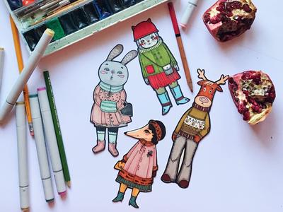 Imaginary friends illustration art animal traditional art sticker watercolor deer fox bunny cat animals childrens illustration artwork character drawing illustration