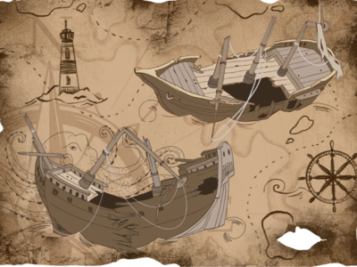 Shipwreck childrens illustration illustration art maps pirate ship pirategraphic game art play quest games pirate game artwork graphic procreate digital drawing illustration