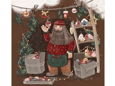 Collector of Christmas toys snow winter рисунок man toy kidlitart christmas happy new year illustration art childrens illustration sketch artwork graphic character procreate digital drawing illustration