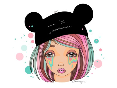 Not a grey mouse bubble tears weeping cry mouse girl illustration