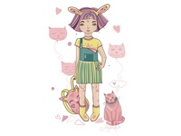 Girl and Cat look for flat.