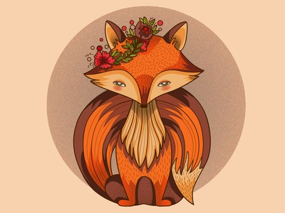 Fox gaze tale flower fox animal illustration