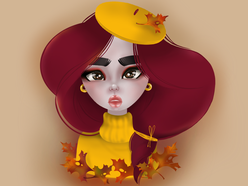 leaf fall character illustrator 2d autumn graphic procreate girl digital drawing illustration