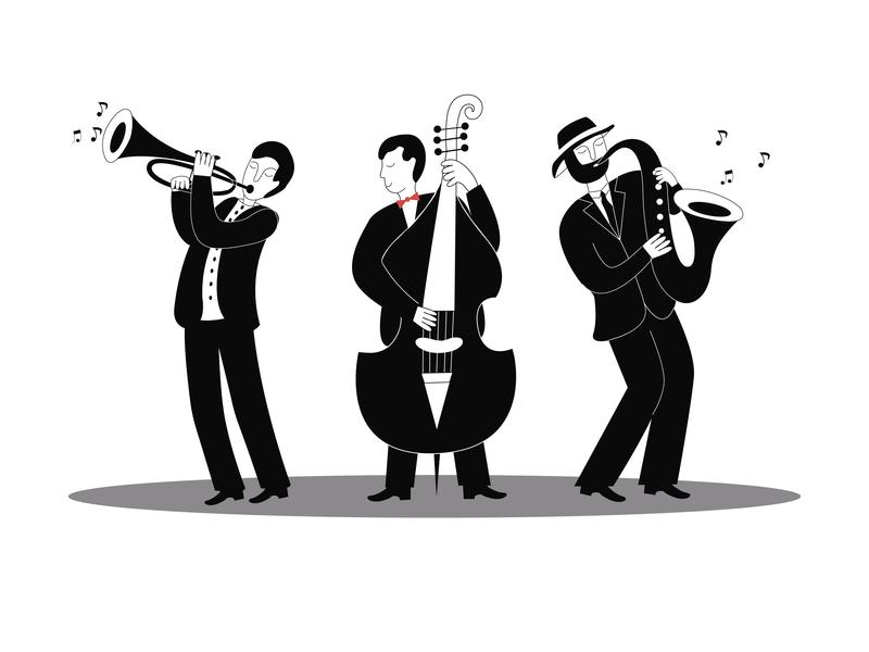 Jazz Musicians trumpeter cellist saxophonist jazz band men art black doodle illustration jazz jazz musicians