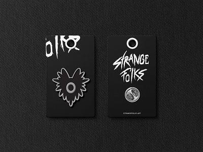 Strange Folks Pin Card identity design identity brand ted pioli art character vector logo badge application icon branding artwork strange folks pro create monster ipad pro design creature illustration